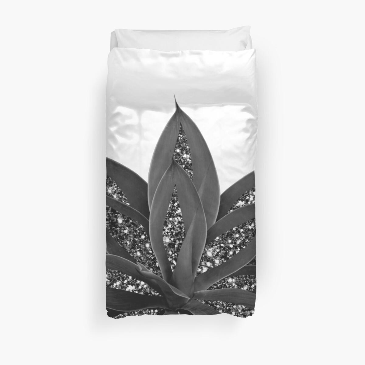 Gray Black Agave with Black Silver Glitter #1 #shiny #tropical #decor #art  by anitabellajantz