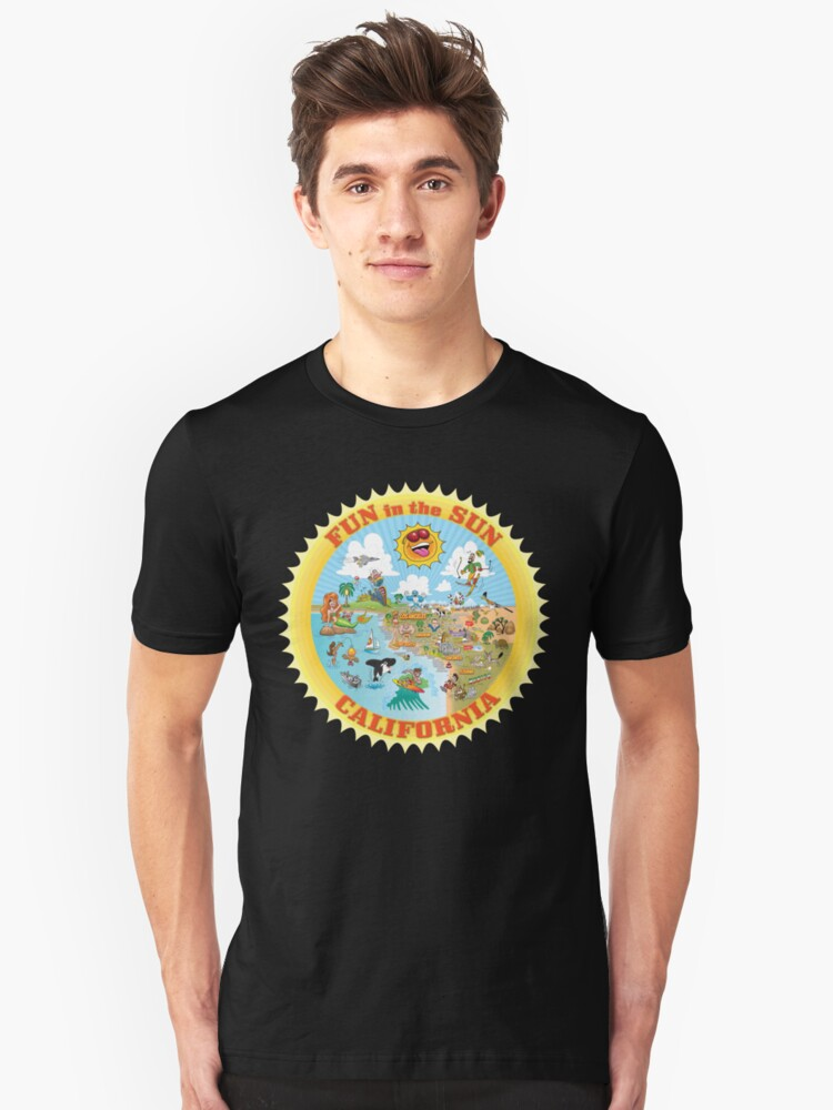 Cartoon Map of Southern California Unisex T-Shirt Front