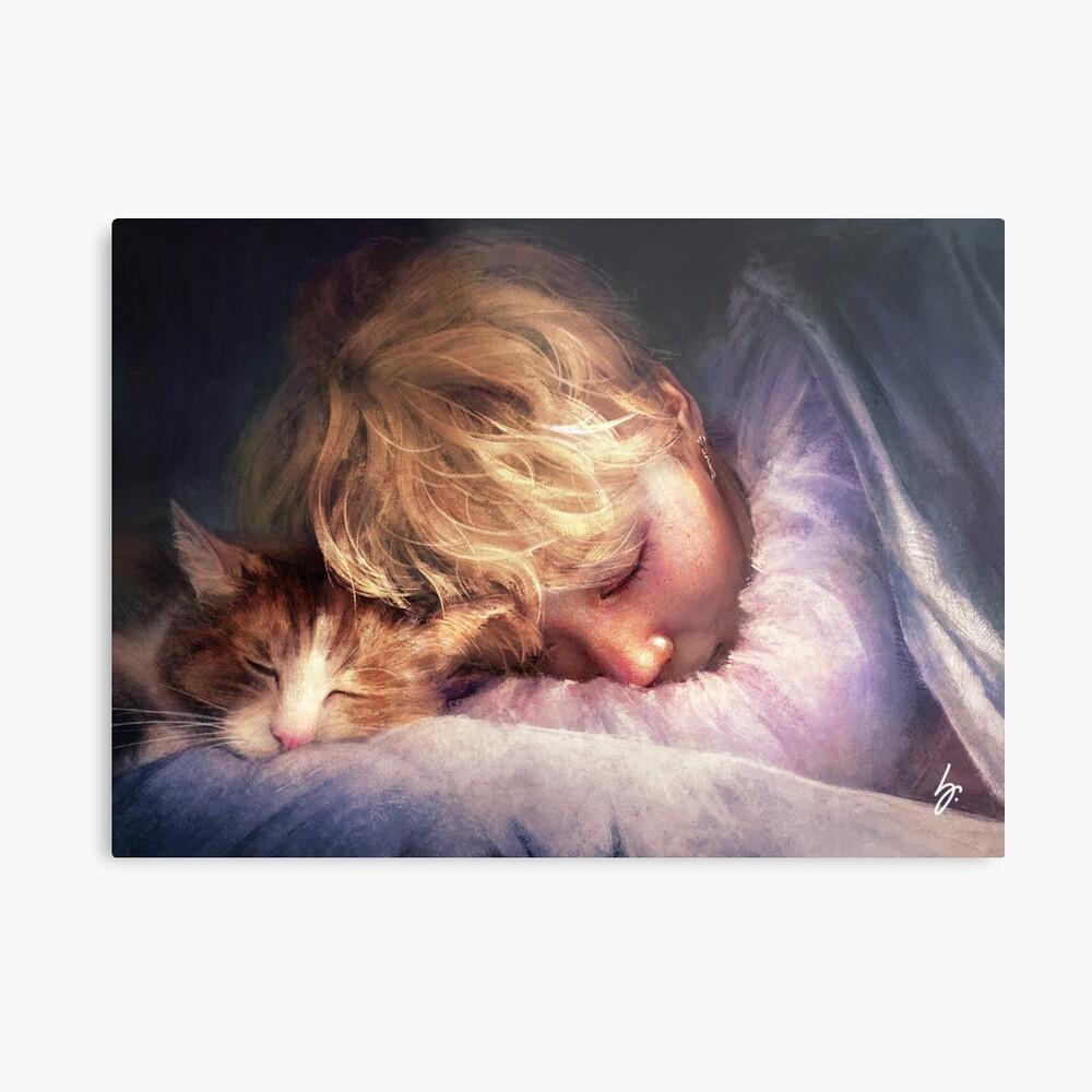 Der Junge mit der Katze Metallbild