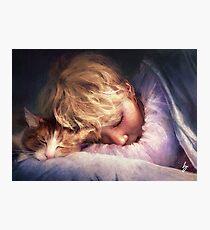 Lámina fotográfica El niño con el gato