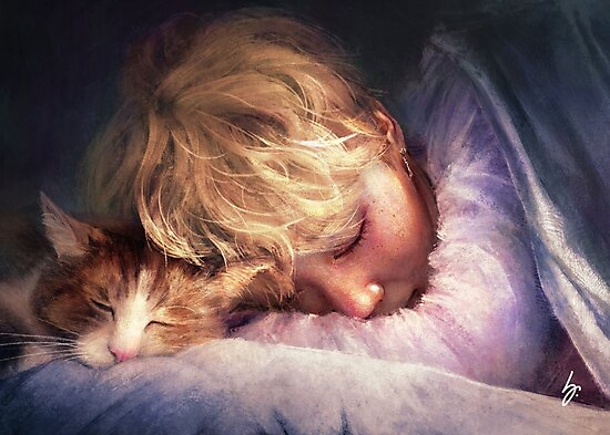 The Boy with the Cat by graphicfighter