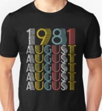 Vintage August 1981 Birthday Gifts Unisex T-Shirt