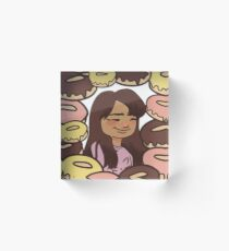Happy Girl with Yummy Glazed Donuts! Acrylic Block
