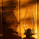 shadow on kerosine lamp - Pumpkin Island Cabin, Ontario, Canada by David Galson