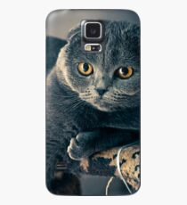 Funda/vinilo para Samsung Galaxy Funny Fat Gray Cat