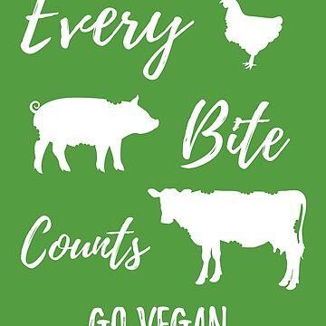 Every Bite Counts - Go Vegan - White by farkash