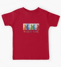 Kitsch Cats Silhouette Cat Collage On Pastel Background Kids Tee
