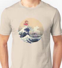 PONYO ON THE JAPANESE WAVE - HOKUSAI KAIJU Slim Fit T-Shirt