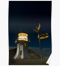 Cape Reinga lighthouse at night 7 Poster