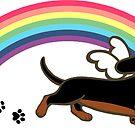 Black and Tan Dachshund Angel Rainbow by HappyLabradors