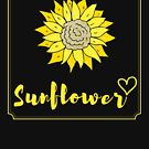 Yellow Sunflower in Frame with Love Heart (Design Day 252) by TNTs