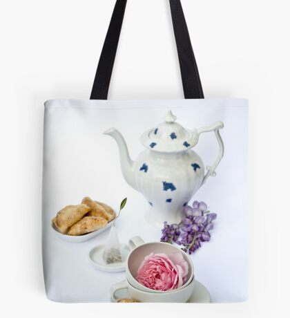 Still life with teapot and almond and rose paste filled cookies Tote Bag