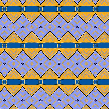 Tribal pattern, blue and yellow by patricmouth