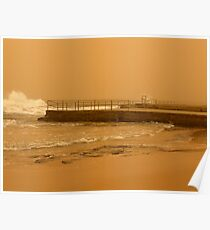 brown out .... ocean pool and soggy sky Poster