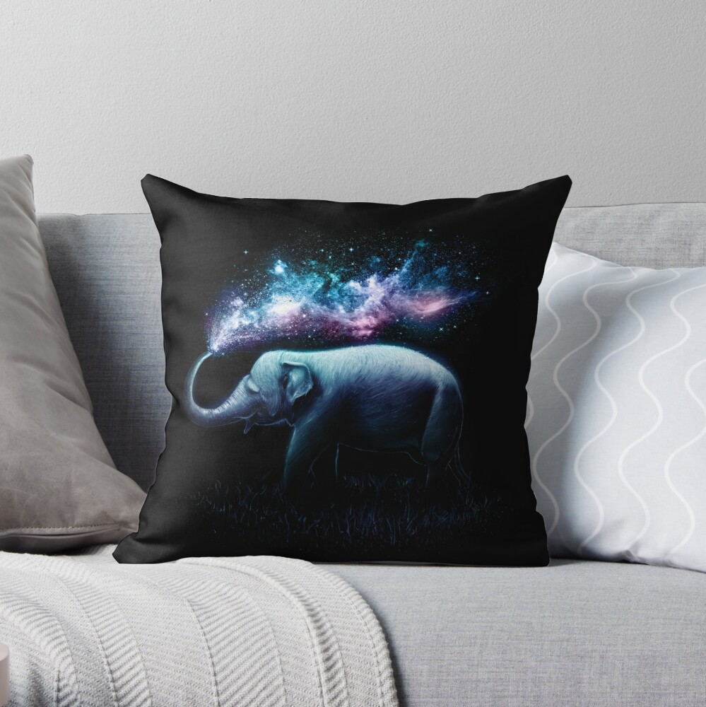 Elephant Splash Throw Pillow