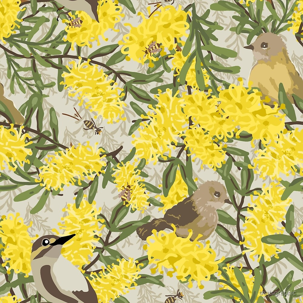 Brids, Bees & Grevilleas by thatsgraphic