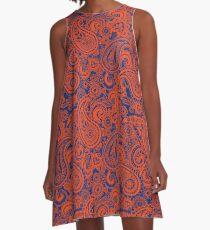 Paisley Spieltag Kleid | Florida | Blau und Orange A-Linien Kleid