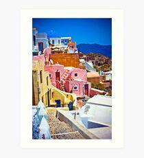 colorful houses on Santorini Art Print