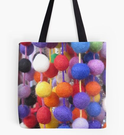 COLOURED COTTON BOBBLES NOW AVAILABLE ON PENCIL SKIRTS AND SCARVES Tote Bag
