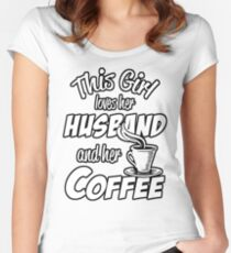 This Girl Loves Her Husband And Her Coffee Coffee Bean Background Women's Fitted Scoop T-Shirt