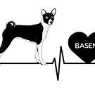 Basenji Love Heartline by aheadgraphics
