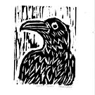 Raven Woodblock by Stacie Arellano