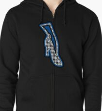 THE BLUE SHOE  | MINIMALIST | POLKADOT AND MID BLUE POP ART IN FASHION  Zipped Hoodie