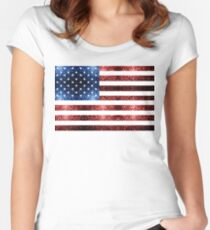 USA flag red blue sparkles glitters Women's Fitted Scoop T-Shirt