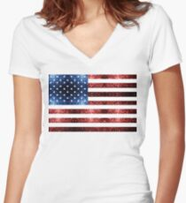 USA flag red blue sparkles glitters Women's Fitted V-Neck T-Shirt