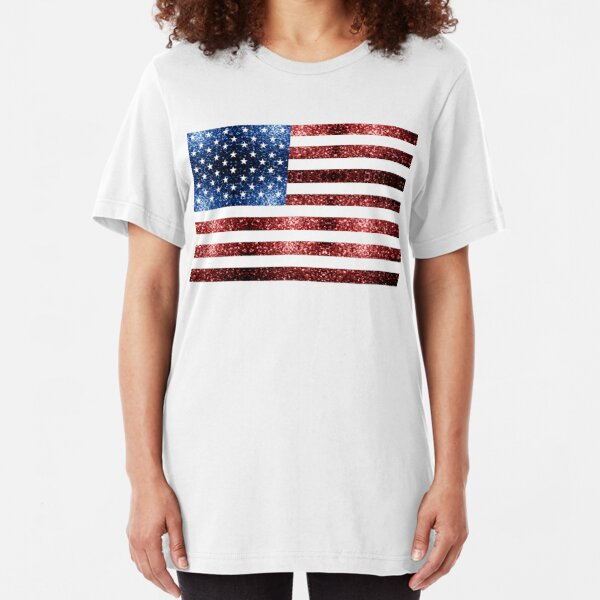 USA flag red blue sparkles glitters Slim Fit T-Shirt