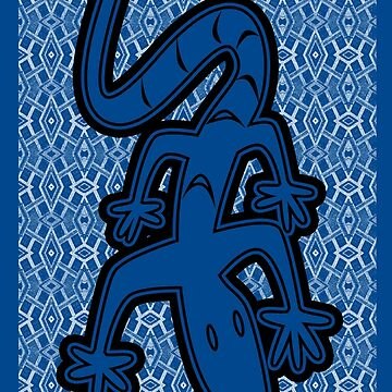 LIZARD ON GLASS | MINIMALIST POP ART IN MID BLUE  by cradox