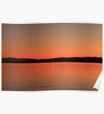 Sliver of Moon at Sunset Poster