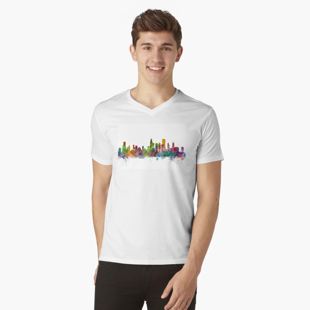 Chicago Illinois Skyline T-Shirt mit V-Ausschnitt