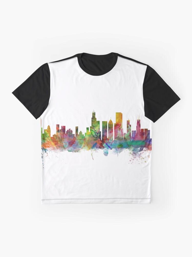 Alternative Ansicht von Chicago Illinois Skyline Grafik T-Shirt