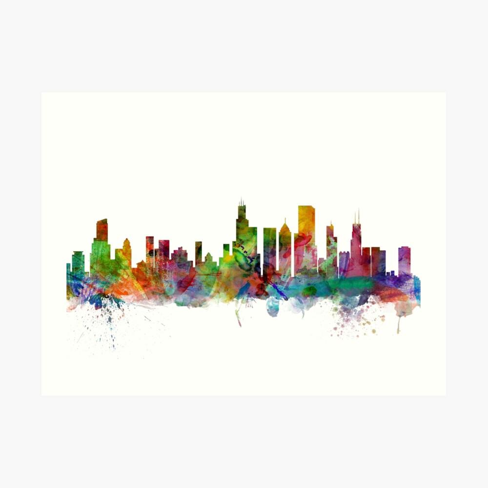 Chicago Illinois Skyline Kunstdruck
