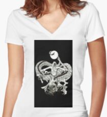 Lady Dragon Death Warrior  Women's Fitted V-Neck T-Shirt