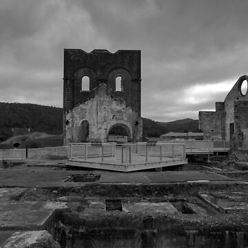 Lithgow Blast Furnace in Black and white by Boxbrowney