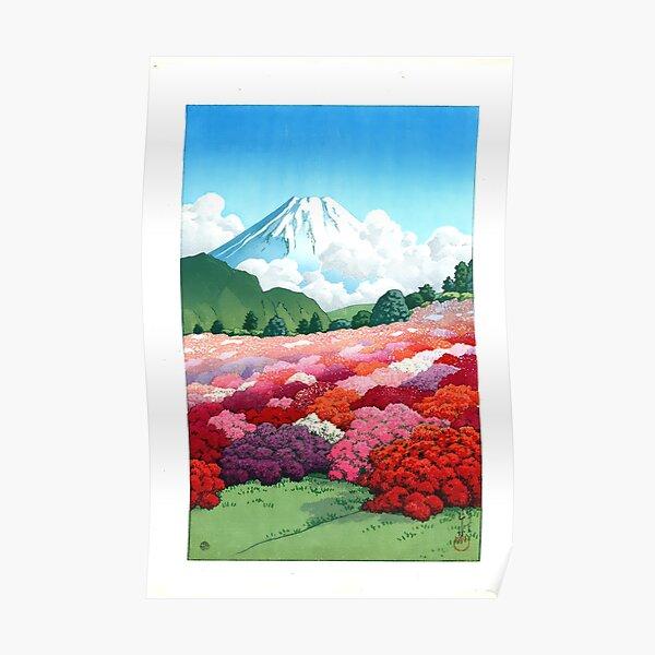 "Japanese Wall Art ""View of an Azalea Garden and Mount Fuji 1935 Kawase Hasui Poster"