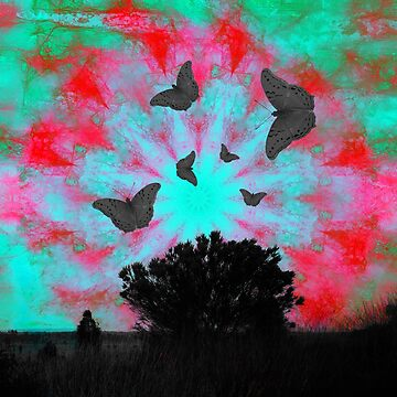 Dark butterflies in surreal mandala landscape by hereswendy