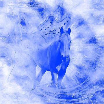 Blue Pegasus in mysterious mandala landscape by hereswendy