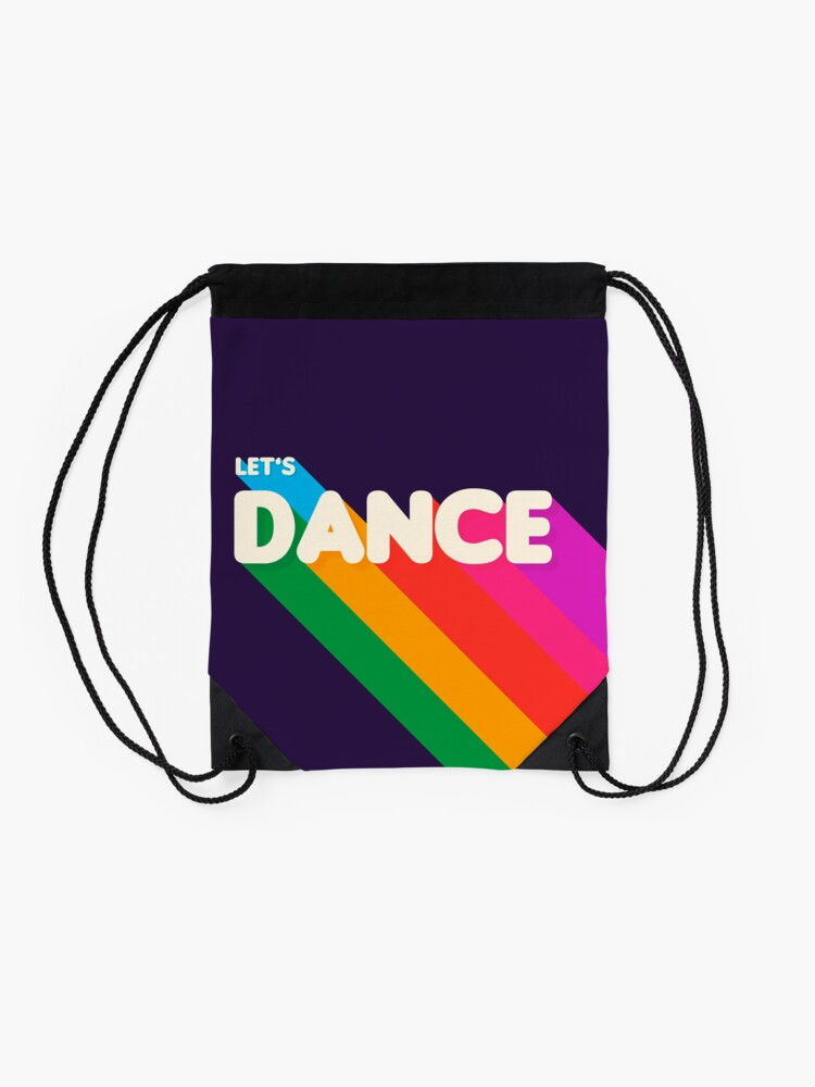 Alternate view of Rainbow dance typography Drawstring Bag