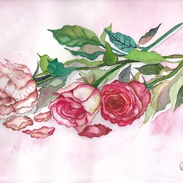 Three Roses Watercolor Print by Lallinda