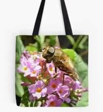 hoverfly on blossom Tote Bag