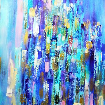 peacock feathers abstract painting by Carolynne