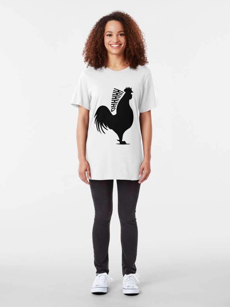 """Alternate view of James May's Official """"Oh Cock"""" design Slim Fit T-Shirt"""