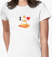 Traffic Cone Funny Road Marker Roadworks Design Women's Fitted T-Shirt