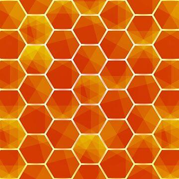 Orange Abstract hexagonal background futuristic geometric seamless luxury pattern by Darcraft28