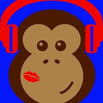 Cute Monkey DJ in Headphones with Lipstick Kiss by CreativeTwins