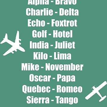 Pilot Phonetic Alphabet Military Cadet Airplanes by CreativeTwins