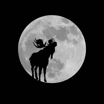 Funny Moose Full Moon Shirt. Halloween Howling Moose T-Shirt Moose Lover Gift  by teemaniac
